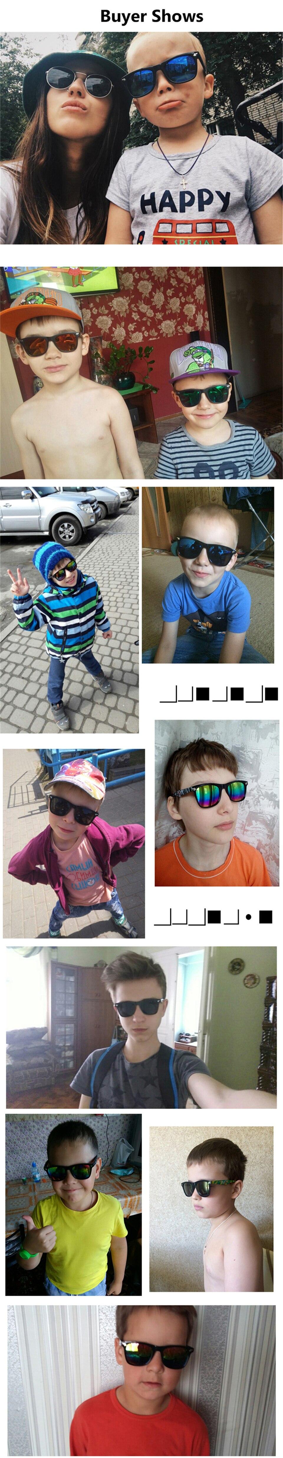 Fashion Kids Sunglasses lovely Sunglasses Mosaic Boys Girls Pixel Eyewares With Case Children Gift (29)