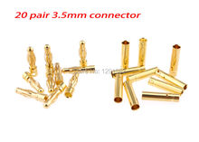 20 Pairs 3.5mm Gold Plated Metal Bullet Banana Plug Connector RC Quadcopter Battery