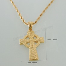 "Min order 10$/ CAN MIX DESIGN - YELLOW GOLD GP FILL BRASS 24"" ROPE NECKLACE&JESUS CROSS GOD CARVED SURFACE SHIP RUDDER PENDANT"