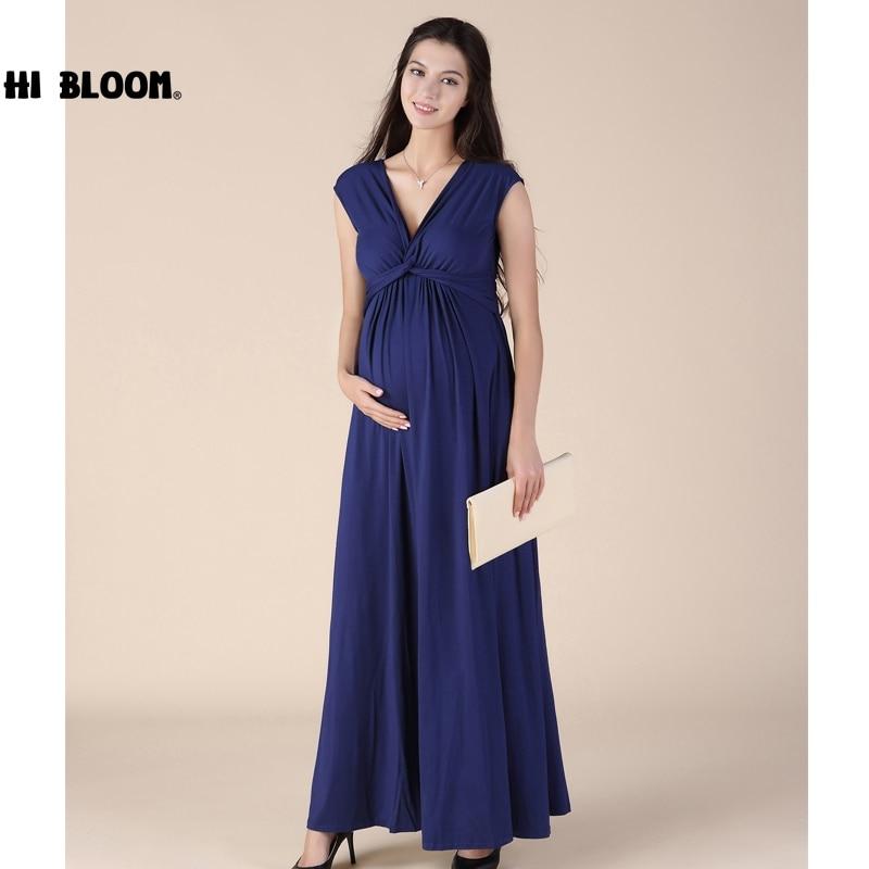 HI BLOOM Sleeveless Long Dresses for Pregnant Women Summer Maternity Dresses Pregnancy Clothes Loose Vestidos<br>