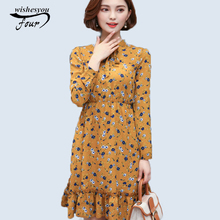 2017 New Spring elegant Chiffon Female Color casual woman's clothing Printing Long Sleeve Broken Beautiful  Dress 700A 30