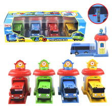 4pcs/set Scale model tayo the little bus children miniature bus action figures plastic oyuncak garage tayo bus kids toys gift