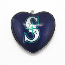 10pcs/lot Baseball Fan Seattle Mariners Charms DIY Bracelet bangles  jewelry Dangle hanging charm Heart MLB sports charms