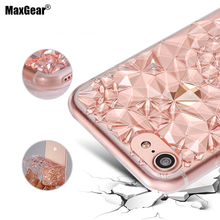 3D Diamond Pattern Case for iPhone 6 6S 7 7 Plus Transparent Clear Soft TPU Cover Crystal Ultra Thin Shining Phone Shell(China)