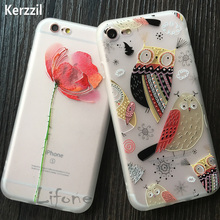 Kerzzil For iPhone 7 3D Relief Rose Flower Phone Case For iphone 6 6S 7 PLus Coque Cute Birds Floral TPU Soft Back Cover Capa(China)