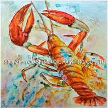 Lobster Water Colour Animal Wall Art Handmade Oil Painting on Canvas Big Size Seafood Shrimp Room or Kitchen Decoration(China)