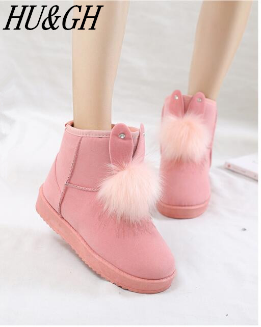 2018 New Womens boots female Venonat rabbit ear lovely boots waterproof and  velvet with thick warm ... 1408a2478b52