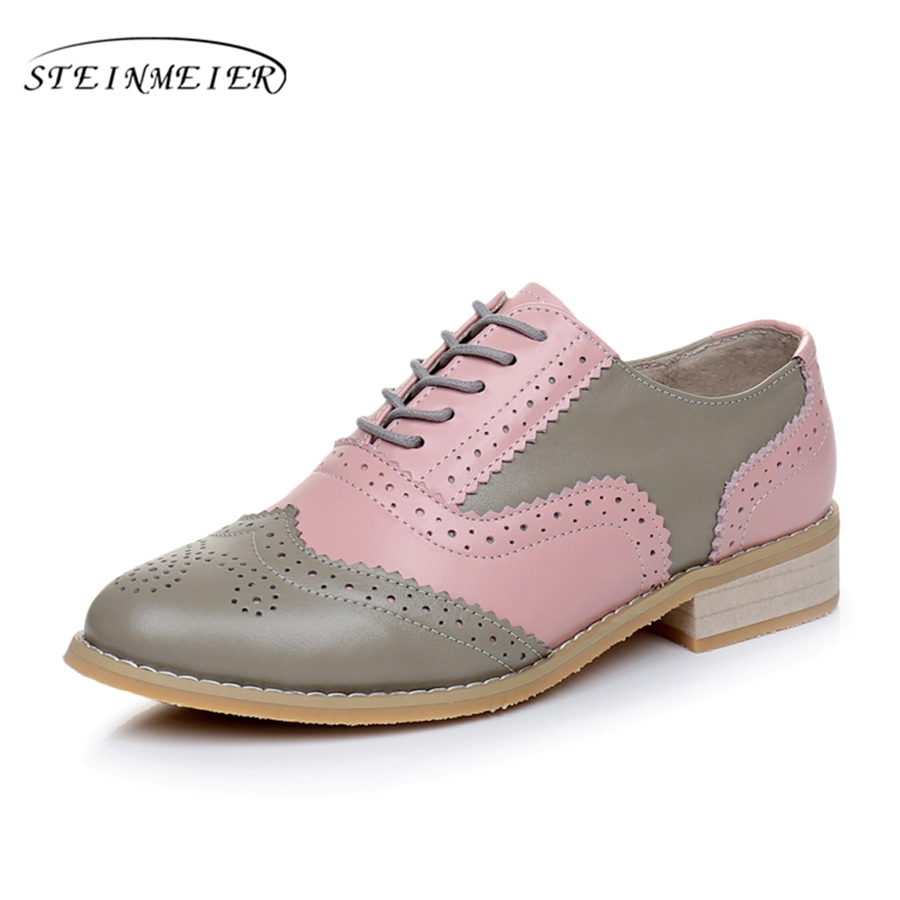 Genuine leather big woman US size 10 designer vintage flats shoes round toe handmade pink grey 2017 oxford shoes for women fur<br>