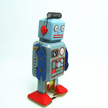 Classic collection Retro Clockwork Windup Metal Walking Tin Toy repairman Robot Vintage Mechanical MS249 kids christmas gift(China)