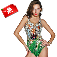 Brandman 2017 Wild Leopard One piece Swimwear Sexy Bathing Suit Women One-piece Swimsuit
