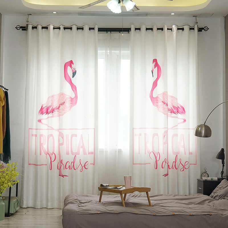 Modern Blackout Curtains with 3D Printing Pink Flamingo Flat Window Treatment Solid Bright Curtain for Living Room Bedroom Drape