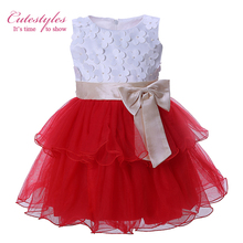 Cutestyles 2017 Girl Casual Summer Dress White Flowers Red Tutu Party Dresses With Bows Baby Girls Sun Dresses GD31025-1