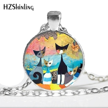 NS-00750 New Design Rosina Wachtmeiste Cats Necklace Handmade Colorful Jewelry for Animal Lover Art Glass Dome Pendant HZ1