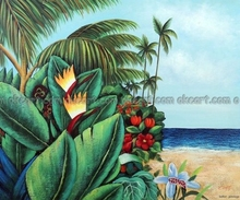 100% hand painted Palm Trees Tropical Beach Flowers Pacific decoration Oil Painting Free Ship free shipping High quality(China)