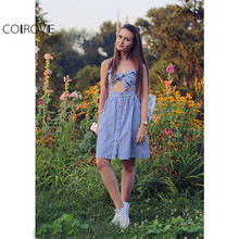 COLROVIE Ladies Summer Blue and White Striped Sleeveless Bow Hollow Out V Neck Buttons A Line Short Spaghetti Strap Dress
