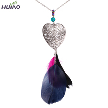 Fashion Women Rose Black Blue Feather Necklaces Heart Shape Alloy Statement Necklace HY-1962
