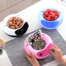 Liplasting Plastic Double Layer Dry Fruit Containers Snacks Seeds Candy Storage Box Garbage Holder Plate Dish for Children