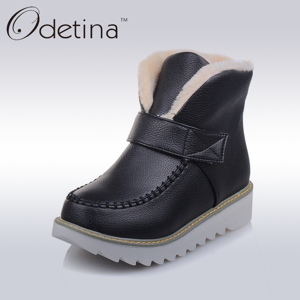 Odetina Fashion Platfrom Flat Women Winter Shoes with Warm Plush Round Toe Snow Boots 2016 PU Women Non Slip Large Size Booties<br>