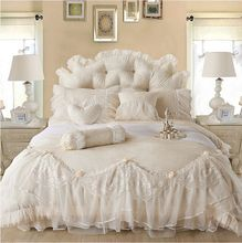 Free Shipping wholesale satin lace bedding set Korean princess bedskirt wedding full/queen/king bed set 4pcs without filling(China)