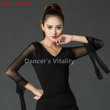 Black Elegant  Long sleeve V collar sexy modern Latin Dance clothes Top for women/female/Lady Ballroom Costume Practice Dress