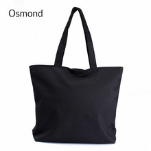 Osmond Women Canvas Shopping Bags Shopper Tote Holiday Beach Bag Zipper Eco Shoulder Versatile Sack Summer DIY Painting Handbag