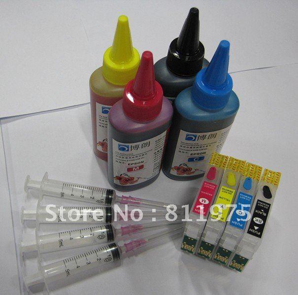 132 T1321-T1324 refillable ink cartridge for epson  Stylus N11 NX125 + 4 Color 100ml ink each bottle<br><br>Aliexpress