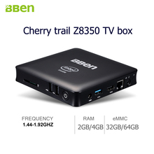 Bben quad core tv box intel z8350 mini pc windows 10 dongle ram emmc rom 1.44-1.92GHz mini windows pc desktop tv box computer