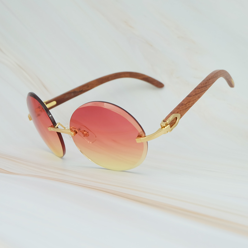 2018 Vintage Retro Big Rimless Frame Colorful Yellow Pink UV400 Protect Brand Designer Sunglasses For Men And Women Round Shades (5)