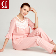 2017 Luxury style pajamas sets Women sleep lounge Set Female 100% Cotton Sexy Ruffle Half Sleeve Lace petal Sleepwear pyjamas(China)