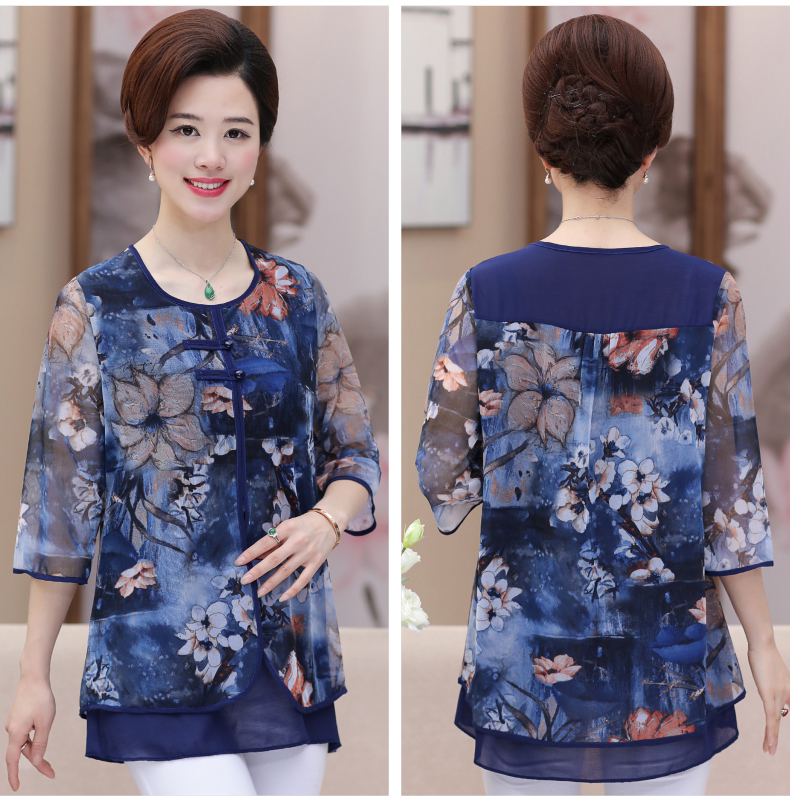 WAEOLSA Chinese Style Woman Ethnical Chiffon Blouses Gray Blue Red Green Flower Layered Tops Women Oriental Boon Design Blouse Lady Crepe Tunic (7)