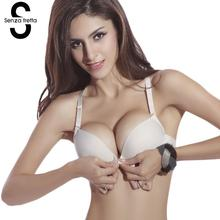Senza Fretta Sexy Seamless Bra Gather Adjustable Women Lingerie Super Push Up Bra Brassier Front Closure Cotton Bra NY01102