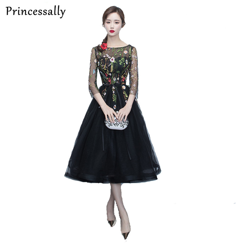 Princessally New Evening Dress Tea-length Black Lace Embroidery Tulle 3/4 Sleeves Party Gown Banquet Elegant Formal Dresses