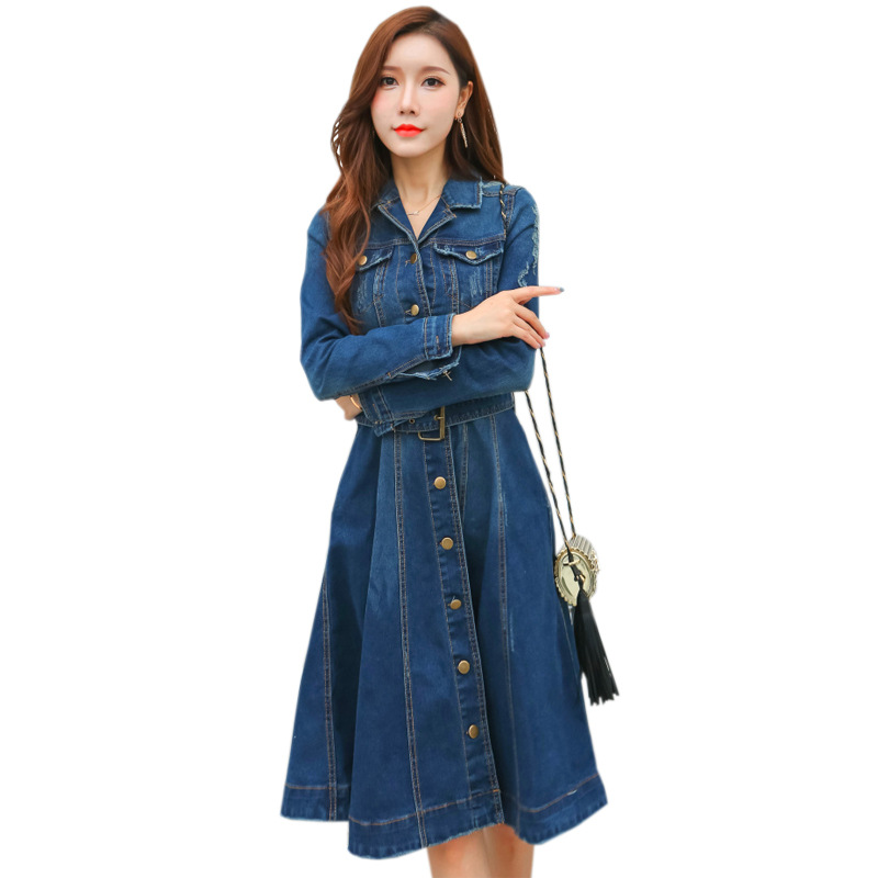 Denim Dress Women 2018 New Spring long sleeves Slim Jeans Dresses Ladies Mid Calf Cowboy blue Casual Dresses Women Clothing
