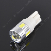 2PCS High Bright T10 W5W 194 5630 6SMD 6LED 6 Smd Led Wedge Auto Car Projector Lens Light Bulb Parking Light DC12V White