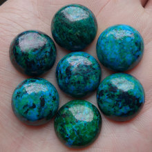 35PCS 15x5mm Free Shipping Round Synthetic Chrysocolla Stone CAB Cabochons