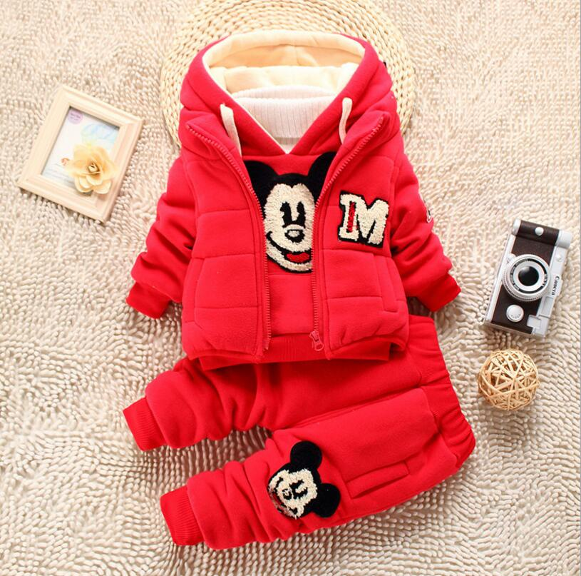 baby boy set winter mickey mouse thick clothing set hooded sets toddler boy warm clothes with fur cotton outfits for boy 3pcs<br><br>Aliexpress