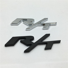 RT R/T Black/Silver Metal Car Rear Trunk Emblem Badge Sticker for Dodge Challenger Charger(China)