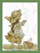 Высокое Качество Прекрасные Милые Вышивания Крестиком Комплект Стежка Летний Дождь Дождь Маленькая Девочка лука-s лука b1077(China)