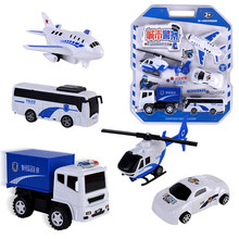 WEYA 5 in 1 Vehicles City police car toys Aircraft/helicopter/bus/police car/truck Inertia toy gifts boy car toys for kids