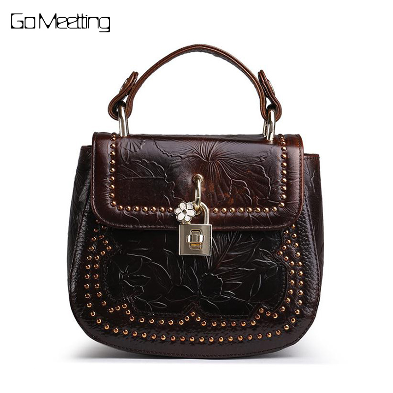 Oil Wax Cowhide 100% Genuine Embossed Leather Women Small Tote Handbag Retro Messenger Cross body Bag High Quality Shoulder Bags<br>