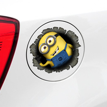 New Stylish fashion Despicable Me Minions Cute Funny Cartoon Glue Sticker Car Decal Covers Reflective on fuel tank Car styling(China)