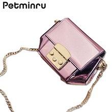 Petminru Woemn Handbag Patent Leather Shoulder Bags Messenger Crossbody Shell Bags Mini Lock Casual Female Famous Brand Pink