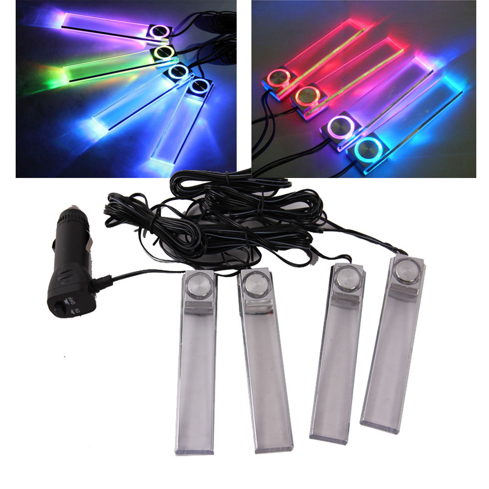-95% OFF Universal 4 Pieces Interior Decorative Atmosphere Neon Light Lamp LED Car Truck Light Fit Kia Honda Toyota Ford VW BMW(China)