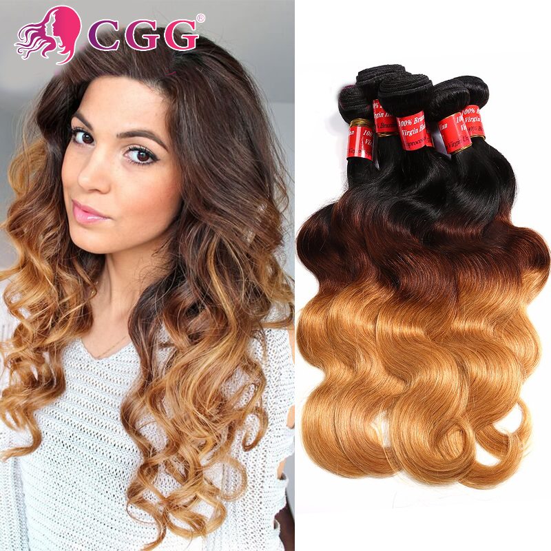 Rosa Hair Products Ombre Human Hair Extensions Bundles 7A Ombre Peruvian Virgin Hair Body Wave 4Pcs Peruvian Hair Weave Bundles<br><br>Aliexpress