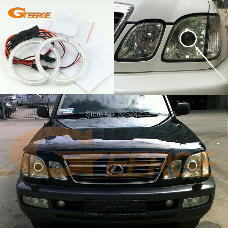 For Lexus LX470 2003 2004 2005 2006 2007 Excellent Ultra bright illumination smd led Angel Eyes Halo Ring kit<br>