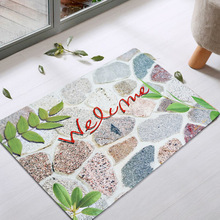 New outdoor door dust removal water absorption,anti slip character stone printing floor mat