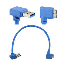 5PCS Double-shielded, twisted-pair 30cm USB 3.0 A 90 degree Down angle male to Micro B male device 10pin left angle Cables