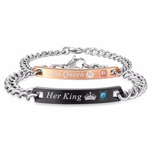Lover's King & Queen Titanium Bracelets Her King His Queen Letters Link Bracelets Black Rose Gold Color Bracelet for Couples(China)