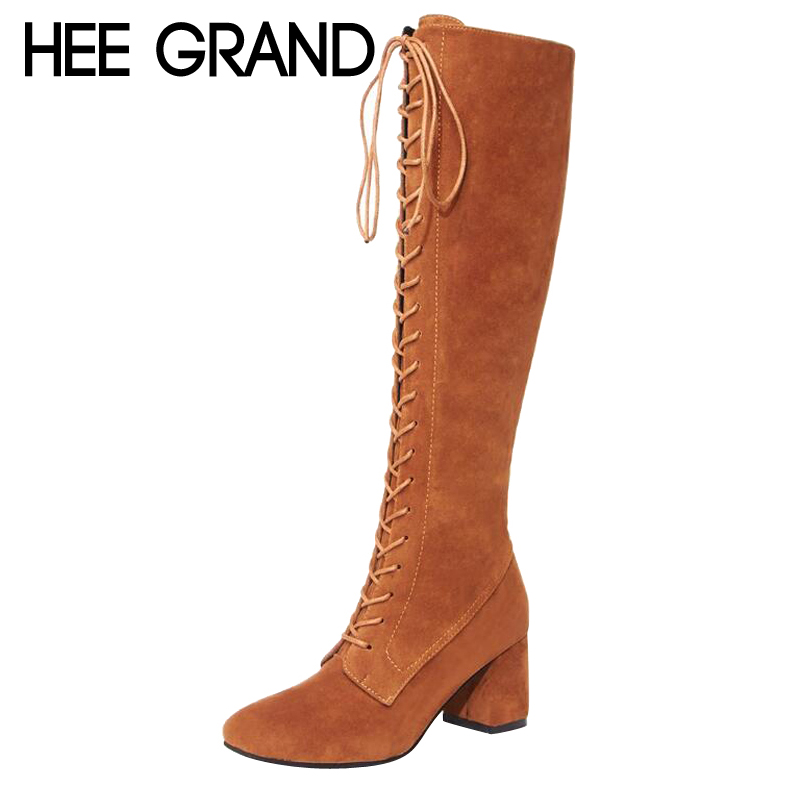 HEE GRAND Flock Vamp Women High Boots Motorcycle Boots with Short Plush Cool Woman Lace-up Thick High Heel Fashion Boots XWX6548<br>