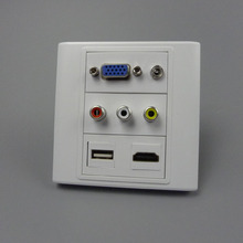 vga, hdmi 3.5mm audio, USB, 3RCA AV wall plate with back female to female connector support customer design(China)
